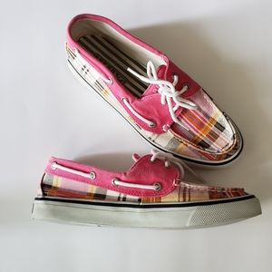SPERRY TOP-SIDER DECK BOAT PINK PLAID LOAFERS